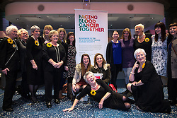 "© Licensed to London News Pictures . 12/01/2016 . Salford , UK . The original Women's Institute members who made the calendar , in the foyer of the theatre , with nurses , raising money for charity "" Bloodwise "" , which researches in to Non-Hodgkin lymphoma , following making a surprise appearance at the Lowry Theatre ,  during the opening week of "" The Girls "" , a musical based on the story "" Calendar Girls "" , about a group of Women's Institute members in Yorkshire , who made a nude calendar . Photo credit : Joel Goodman/LNP"