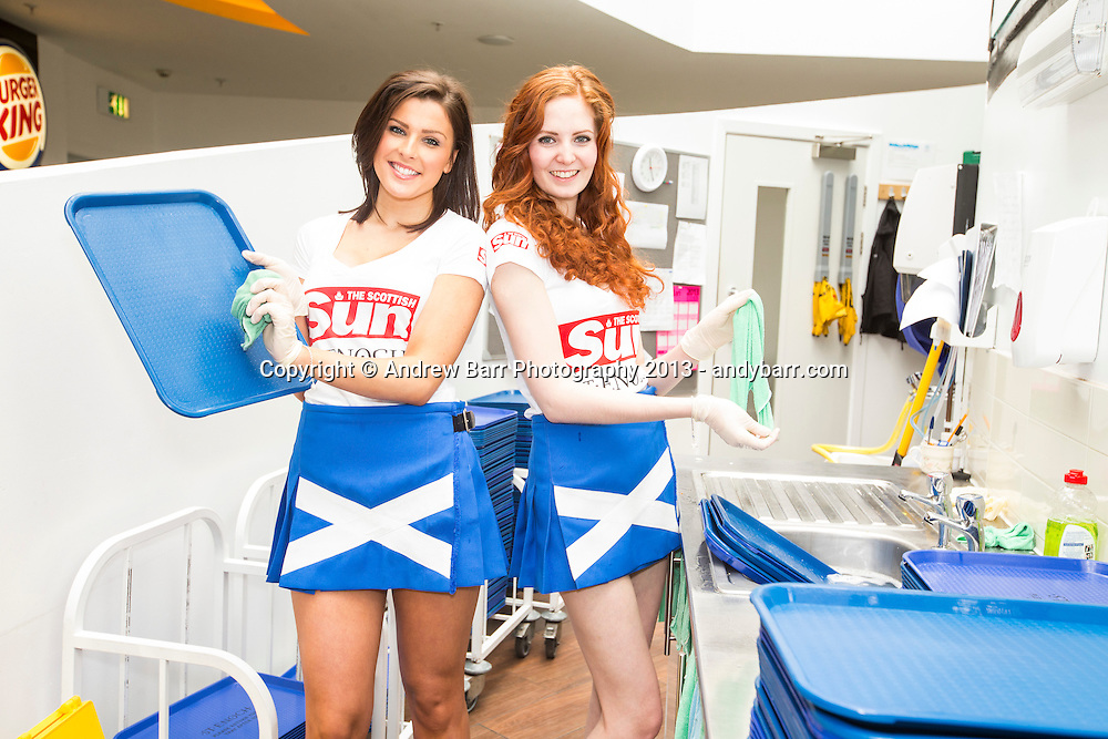 05:05:2013..Miss Scotland 2013 -  The girls get working behind the scenes at the St. Enoch Centre...Taylor and Laura P clean trays in the food court...Pic:Andy Barr..07974 923919  (mobile).andy_snap@mac.com..All pictures copyright Andrew Barr Photography. ..Please contact before any syndication. .