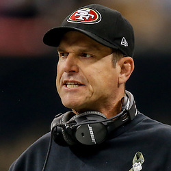Nov 9, 2014; New Orleans, LA, USA; San Francisco 49ers head coach Jim Harbaugh during the first quarter of a game against the New Orleans Saints at Mercedes-Benz Superdome. Mandatory Credit: Derick E. Hingle-USA TODAY Sports
