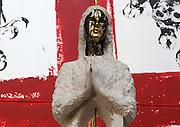 KASPER, sculpture of Virgin Mary, 21st century, reconstituted stone and oil on canvas, 360x360, quadriptique, from exhibition Les Vierges de Noel (Christmas Virgins), January 2012, Eglise Saint-Sulpice (St Sulpitius' Church), c.1646-1745, late Baroque church on the Left Bank, Paris, France. L'autorisation de reproduire cette oeuvre doit etre demandÈe auprËs de l'ADAGP/Permission to reproduce this work of art must be obtained from DACS. Picture by Manuel Cohen