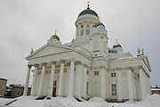 HELSINKI, FINLAND - FEBRUARY 14, 2013: Exterior of the Helsinki cathedral on a cloudy winter day in Helsinki, Finland.