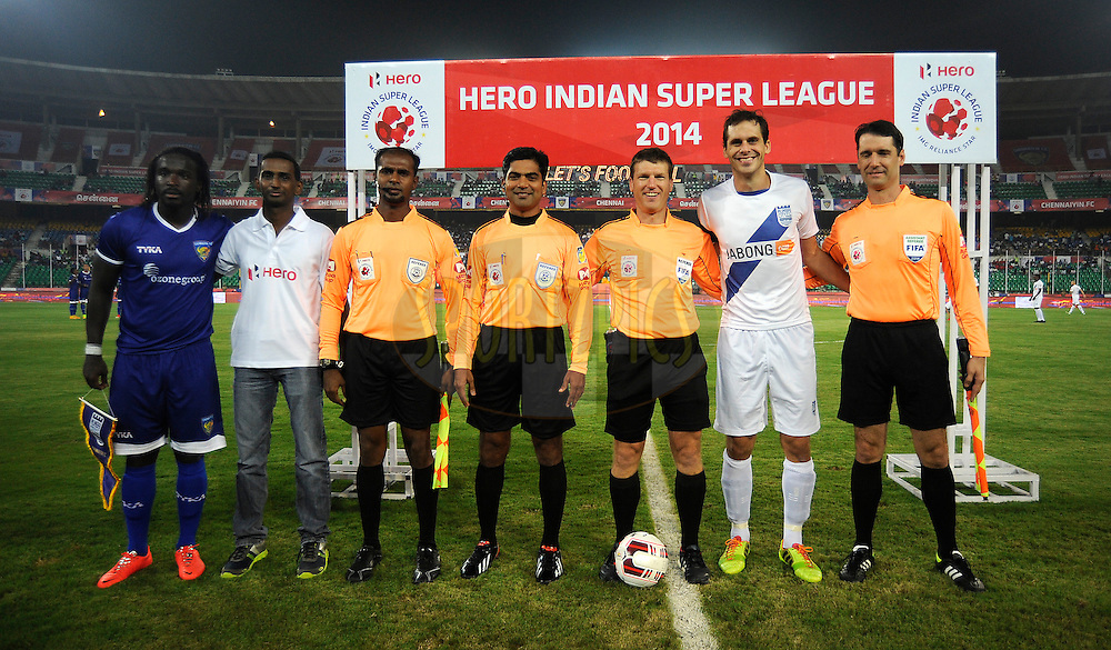 during match 15 of the Hero Indian Super League between Chennaiyin FC and Mumbai City FC held at the Jawaharlal Nehru Stadium, Chennai, India on the 28th October 2014.<br /> <br /> Photo by:  Pal Pillai/ ISL/ SPORTZPICS