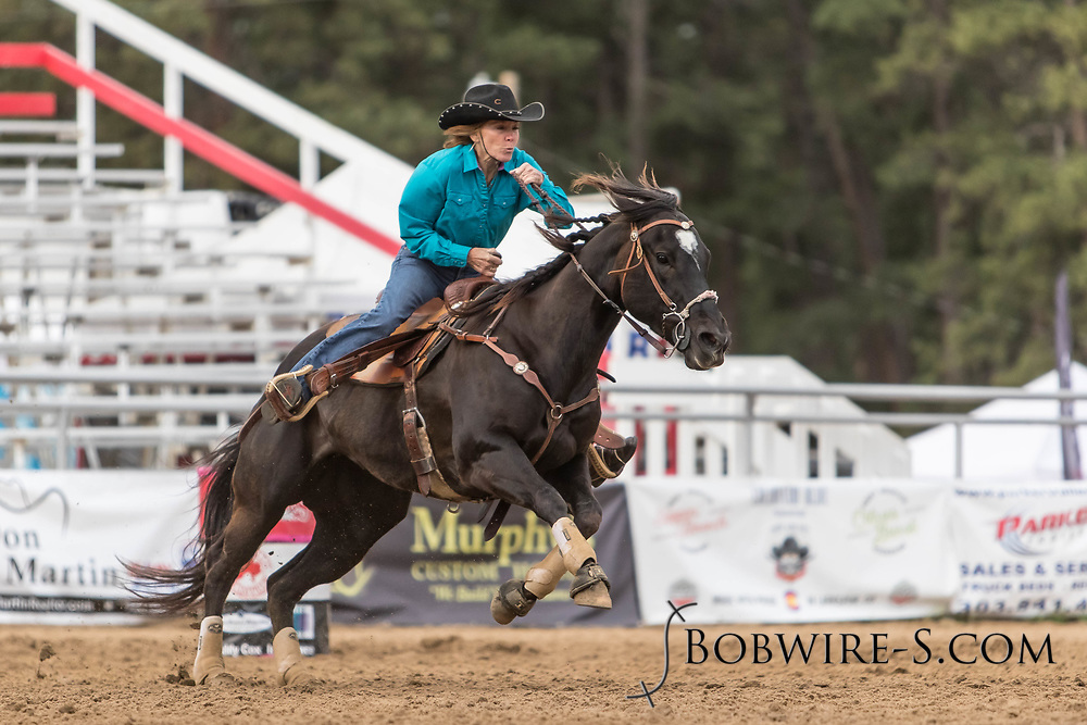 Elizabeth Ellis makes her barrel racing run during slack at the Elizabeth Stampede on Sunday, June 3, 2018.
