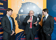 Producers George Kunhardt, right, and Teddy Kunhardt, left, chat with Warren Buffett during a red carpet event for the HBO documentary &quot;Becoming Warren Buffet&quot; at the Holland Center on Monday, Jan. 23, 2017, in Omaha.<br /> <br /> MATT DIXON/THE WORLD-HERALD
