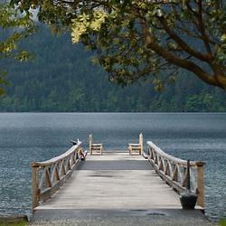 Dock at Lake Crescent Lodge, Olympic National Park, Washington, US