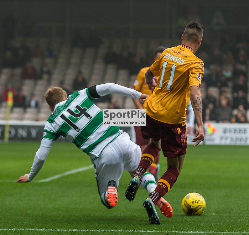 Stuart Armstrong goes down under a challenge from Marvin Johnson during the Scottish Premiership match between Motherwell and Celtic (c) ROSS EAGLESHAM   Sportpix.co.uk