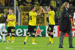 13.09.2011, Signal Iduna Park, Dortmund, GER, UEFA CL, Gruppe F, Borussia Dortmund (GER) vs Arsenal London (ENG), im Bild.Torjubel / Jubel  Ivan Perisic (Dortmund #14) und Mats Hummels (Dortmund #15) ..// during the UEFA CL, group F, Borussia Dortmund (GER) vs Arsenal London on 2011/09/13, at Signal Iduna Park, Dortmund, Germany. EXPA Pictures © 2011, PhotoCredit: EXPA/ nph/  Mueller       ****** out of GER / CRO  / BEL ******
