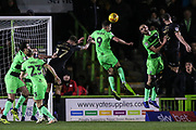 Forest Green Rovers Christian Doidge(9) heads the ball clear during the EFL Sky Bet League 2 match between Forest Green Rovers and Mansfield Town at the New Lawn, Forest Green, United Kingdom on 29 January 2019.