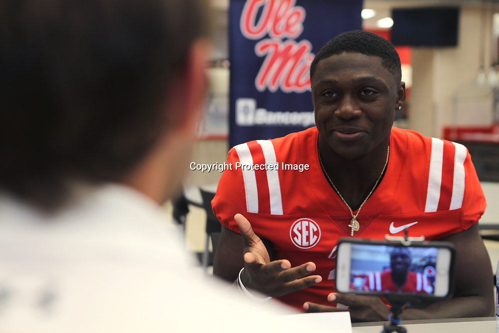 Ole Miss Wide Receiver A.J. Brown, answers questions about the upcoming season during media day at The Manning Center Wednesday afternoon in Oxford.