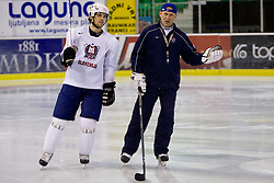 David Rodman and Andrej Hebar st. at first practice of Slovenian National Ice hockey team before World championship of Division I - group B in Ljubljana, on April 5, 2010, in Hala Tivoli, Ljubljana, Slovenia.  (Photo by Vid Ponikvar / Sportida)