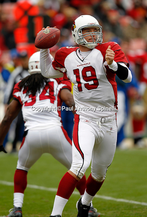 Arizona Cardinals quarterback John Skelton (19) throws a pass during the NFL week 17 football game against the San Francisco 49ers on Sunday, January 2, 2011 in San Francisco, California. The 49ers won the game 38-7. (©Paul Anthony Spinelli)