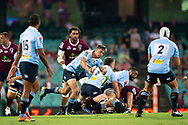 SYDNEY, NSW - MARCH 09: Waratahs player Jake Gordon (9) passes the ball at round 4 of Super Rugby between NSW Waratahs and Queensland Reds on March 09, 2019 at The Sydney Cricket Ground, NSW. (Photo by Speed Media/Icon Sportswire)