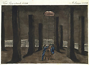 Rock Salt: Marston Salt Mine, Northwich, Cheshire, England, showing how pillars of rock salt were left to support roof. In background work continues by candlelight in chamber called The Cathedral.  German aquatint c1820.