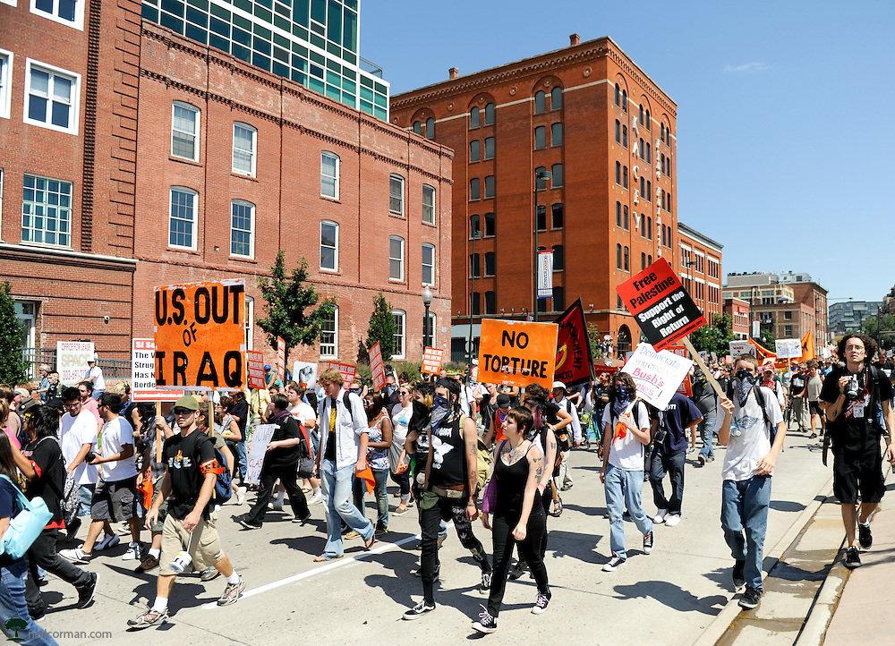 August 24, 2008 - Demonstrators against the Iraq war march towards the Pepsi Center prior to the state of the Democratic National Convention.