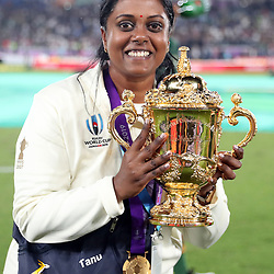 Tanushree Pilly of South Africa during the Rugby World Cup Final match between South Africa Springboks and England Rugby World Cup Final at the International Stadium Yokohama  Japan.Saturday 02 November 2019. (Mandatory Byline -Steve Haag Sports Hollywoodbets)