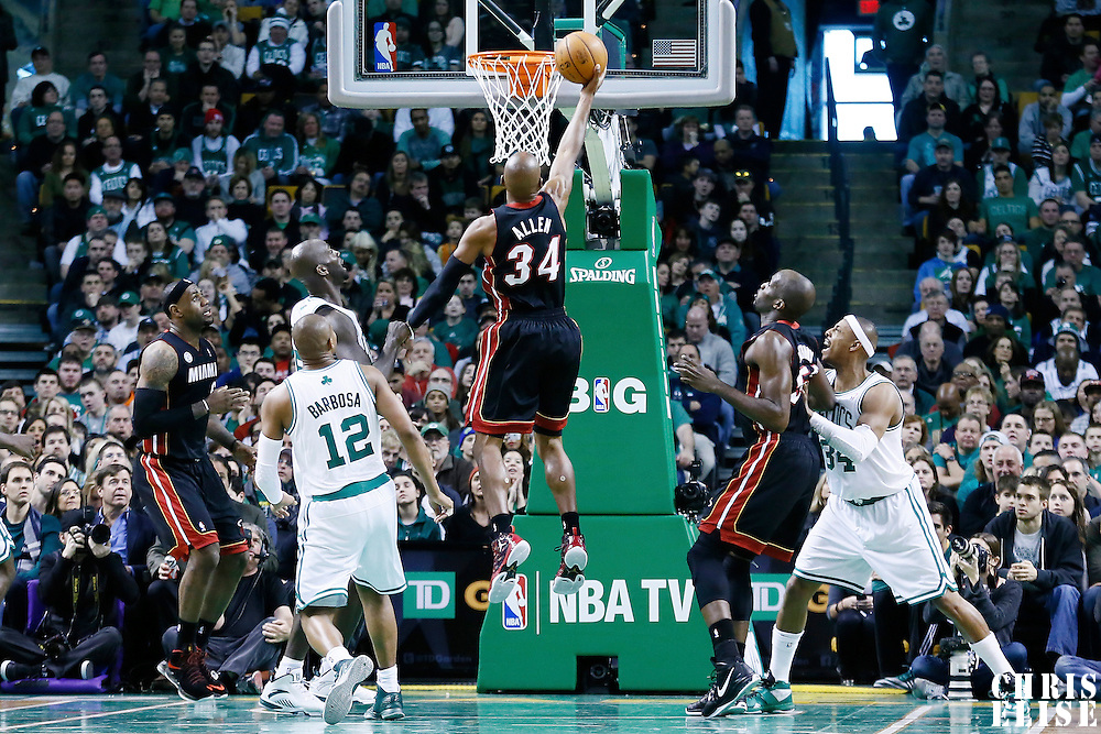 27 January 2013: Miami Heat shooting guard Ray Allen (34) goes for the layup during the Boston Celtics 100-98  2OT victory over the Miami Heat at the TD Garden, Boston, Massachusetts, USA.
