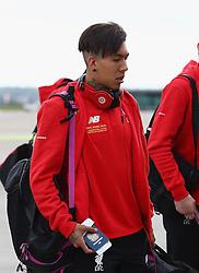 BASEL, SWITZERLAND - MAY 16: Liverpool's Roberto Firmino arrives at Basel airport ahead of the UEFA Europa League Final against Sevilla. Alberto Moreno, Jordon Ibe, James Milner, Daniel Sturridge. (Photo by UEFA/Pool)
