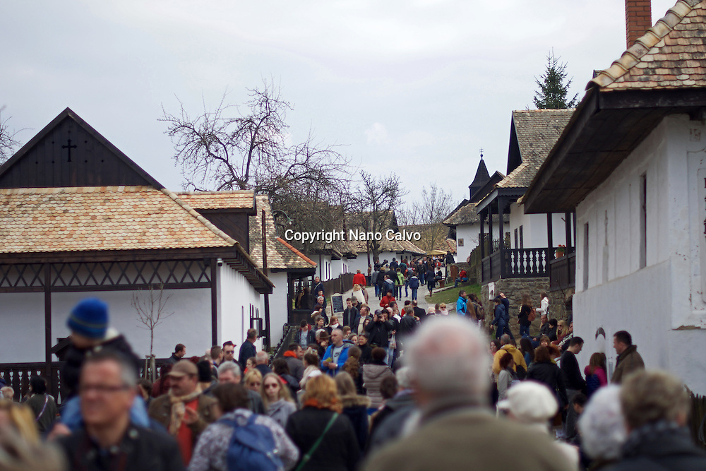 Traditional costumes and folk traditions at Easter Festival in Hollókő, UNESCO World Heritage-listed village in the Cserhát Hills of the Northern Uplands, Hungary.