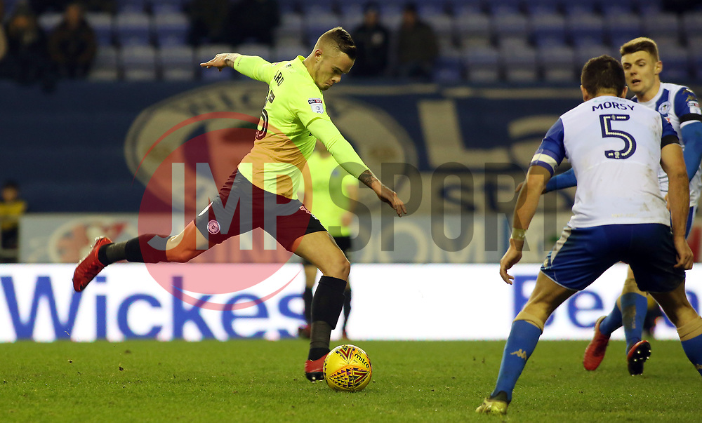 Joe Ward of Peterborough United shoots at goal - Mandatory by-line: Joe Dent/JMP - 13/01/2018 - FOOTBALL - DW Stadium - Wigan, England - Wigan Athletic v Peterborough United - Sky Bet League One