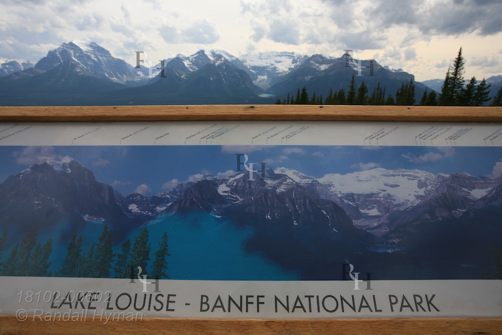 Panoramic photo locator sign overlooks Lake Louise from gondola station in Banff National Park; Alberta, Canada.