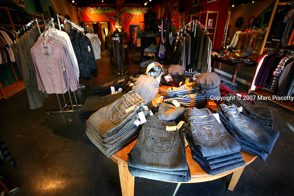 SHOT 12/26/2007 - Toad Road clothing store on Central Ave. in Albuquerque, N.M. The store sells casual, contemporary clothing for men and women and is located in the Nob Hill section of Albuquerque. Albuquerque is the largest city in the state of New Mexico, United States. It is the county seat of Bernalillo County and is situated in the central part of the state, straddling the Rio Grande. The city population was 448,607 as of the 2000 U.S. census. As of the 2006 census estimate, the city's population was 504,949, with a metropolitan population of 816,811 as of July 1, 2006. In 2006, Albuquerque ranked as the 33rd-largest city and 61st-largest metropolitan area in the U.S. Albuquerque is home to the University of New Mexico (UNM) and Kirtland Air Force Base as well as Sandia National Laboratories and Petroglyph National Monument. The Sandia Mountains run along the eastern side of Albuquerque and the Rio Grande flows through the city north to south..(Photo by Marc Piscotty/ © 2007)
