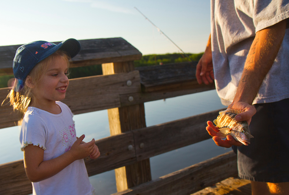 Four-year-old Alexandrea Adams inspects a fish caught by her father, Robert Adams on the fishing pier at Weedon Island Preserve. Nestled between the thriving cities of Tampa and St. Petersburg, Weedon Island Preserve offers a fun and easy daytrip for fishing, hiking and paddling. 2 mile and 4 mile paddling trails meander through mangrove tunnels, over seagrass flats and around mangrove islands. The preserve also offers ample wildlife viewing on hiking trails and from an observation tower. .Photo by James Branaman