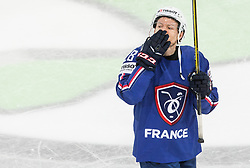 Damien Raux of France sending kisses after winning during the 2017 IIHF Men's World Championship group B Ice hockey match between National Teams of France and Belarus, on May 12, 2017 in AccorHotels Arena in Paris, France. Photo by Vid Ponikvar / Sportida