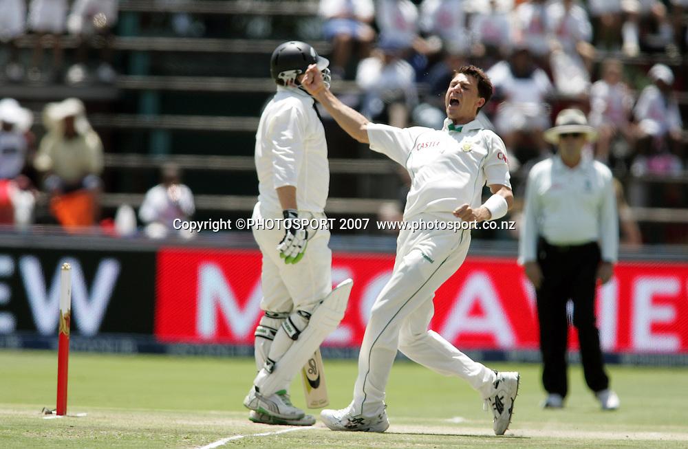 South Africa v New Zealand. International cricket 1st Test. Dale Steyn celebrates the wicket of Scott Styris at the New Wanderers Stadium, Johannesburg, South Africa. Sunday 11 November 2007. Photo: Ron Gaunt/PHOTOSPORT