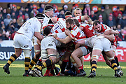 Wasps and Gloucester players battle during the Aviva Premiership match between Gloucester Rugby and Wasps at the Kingsholm Stadium, Gloucester, United Kingdom on 24 February 2018. Picture by Alan Franklin.