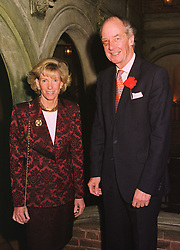 MISS GINNY HOARE and VISCOUNT MARCHWOOD, at a party in London on 23rd November 1998.MMH 28