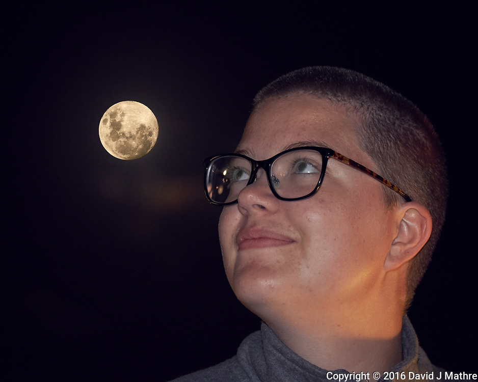 Student Viewing the Moon. Image taken with a Fuji X-T1 camera and 55-200 mm VR lens