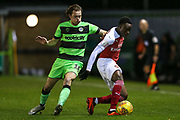 Arsenal's James Olayinka(75) under pressure from Forest Green Rovers Theo Archibald(18) during the EFL Trophy group stage match between Forest Green Rovers and U21 Arsenal at the New Lawn, Forest Green, United Kingdom on 7 November 2018.