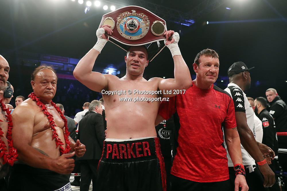 Joseph Parker holds up his belt after his successful defence of the WBO Heavyweight World Title.<br /> WBO Heavyweight Title defence - Joseph Parker v Hughie Fury at The Manchester Arena, Manchester, England on 23 September 2017.<br /> Copyright photo: Mark Robinson / www.photosport.nz