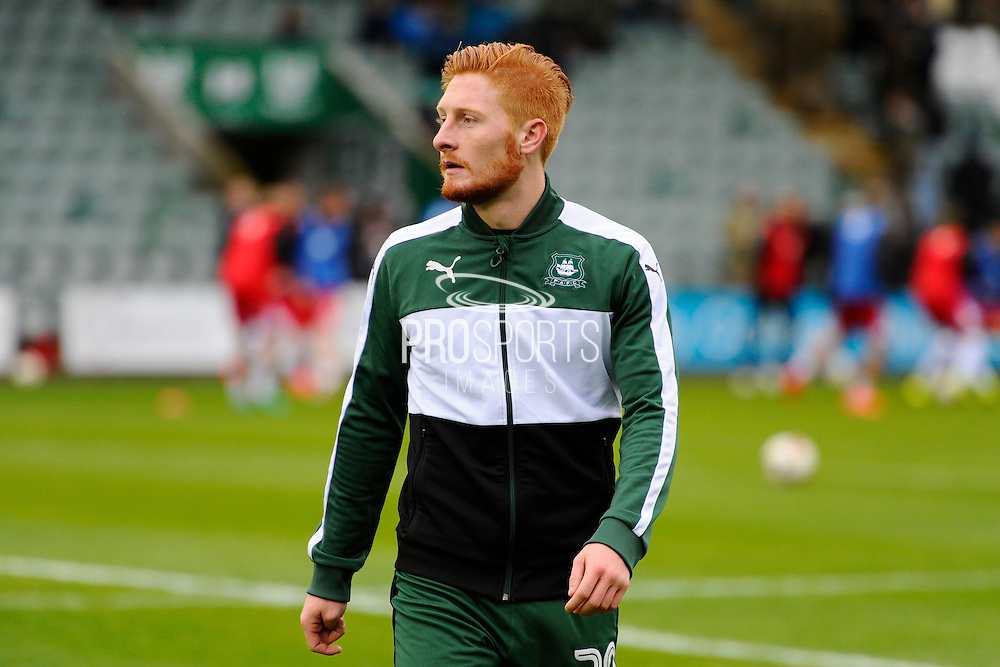 Louis Rooney (20) of Plymouth Argyle warming up before the EFL Sky Bet League 2 match between Plymouth Argyle and Grimsby Town FC at Home Park, Plymouth, England on 19 November 2016. Photo by Graham Hunt.