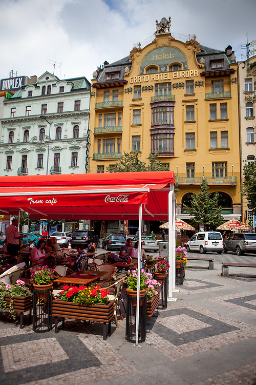 """Grand Hotel Evropa"" located in the middle of Wenceslas Square in Prague."
