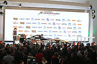 The Sahara Force India F1 Team 2015 livery is revealed.<br /> Sahara Force India F1 Team Livery Reveal, Soumaya Museum, Mexico City, Mexico. Wednesday 21st January 2015.