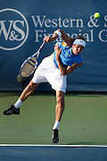 CINCINNATI, OH - AUGUST 18: Igor Andreev of Russia serves to Gilles Simon of France during day two of the Western & Southern Financial Group Masters on August 18, 2009 at the Lindner Family Tennis Center in Cincinnati, Ohio. Simon defeated Andreev 7-6, 6-7, 6-4. (Photo by Joe Robbins)