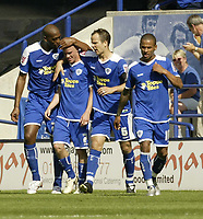 Photo: Aidan Ellis.<br /> Leicester City v Watford. Coca Cola Championship. 25/08/2007.<br /> Leicester's Iain Hume is congratulated by team mates after scoring the opening goal