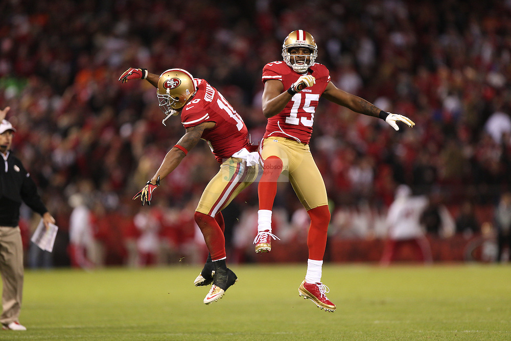 San Francisco 49ers wide receiver Kyle Williams (10) celebrates with wide receiver Michael Crabtree (15) against the Chicago Bears during an NFL game on Monday Nov. 19, 2012 in San Francisco, CA.  (photo by Jed Jacobsohn)