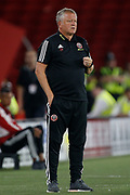 Chris Wilder  of Sheffield United during the EFL Cup match between Sheffield United and Blackburn Rovers at Bramall Lane, Sheffield, England on 27 August 2019.
