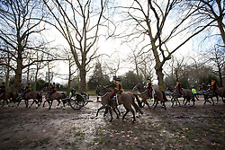 © Licensed to London News Pictures. 06/02/2013. London, UK. Members of the King's Troop, Royal Horse Artillery, ride through Green Park on their way to stage a 41 Gun Royal Salute marking the 61st Anniversary of the Accession of Her Majesty The Queen in London today (06/02/13). Photo credit : Matt Cetti-Roberts/LNP