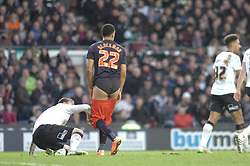 Reading Nick Blackman Looses his Shorts after a tackle with Derby Richard Keogh,  Derby County v Reading, FA Cup 5th Round, The Ipro Stadium, Saturday 14th Febuary 2015