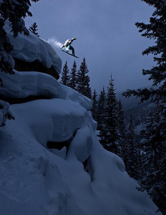 Mark Hoyt shot for Snowboard Colorado in the backcountry of Keystone Resort in Keystone, Colorado.