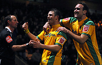 Photo: Ashley Pickering/Sportsbeat Images.<br /> Norwich City v Coventry City. Coca Cola Championship. 24/11/2007.<br /> Jamie Cureton of Norwich (yellow L) celebrates his goal with team mate Lee Croft