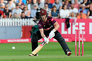 Tom Abell of Somerset plays a ramp shot during the Vitality T20 Blast South Group match between Somerset County Cricket Club and Middlesex County Cricket Club at the Cooper Associates County Ground, Taunton, United Kingdom on 30 August 2019.