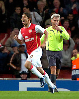Photo: Ed Godden/Sportsbeat Images.<br /> Arsenal v Sevilla. UEFA Champions League Group H. 19/09/2007. Arsenal's Eduardo, celebrates scoring to make it 3-0.