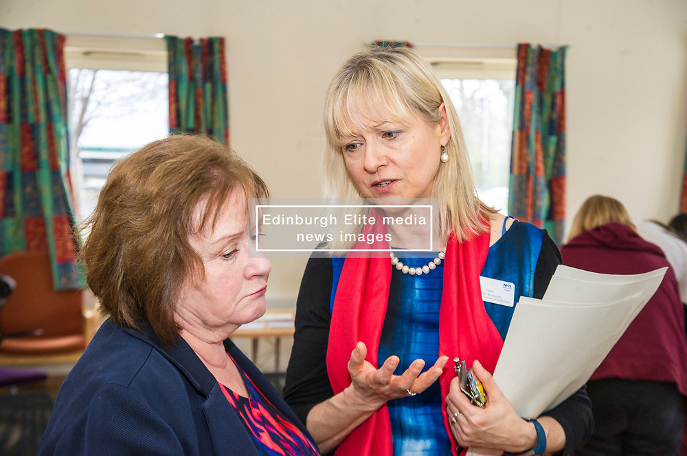 Pictured: Cathy Richards, Lead Clinician explained how the tool will help young people to the Minister<br /> Today Mental Health Minister Maureen Watt vsiisted the Royal Hospital in Edinburgh to help aunch the online resource aimed at young people in this Eating Disorders Awareness Week, While thee she met two two Beat ambassadors, Constance Barter and Ballari Conner<br /> <br /> Ger Harley | EEm 28 Fbruary 2018