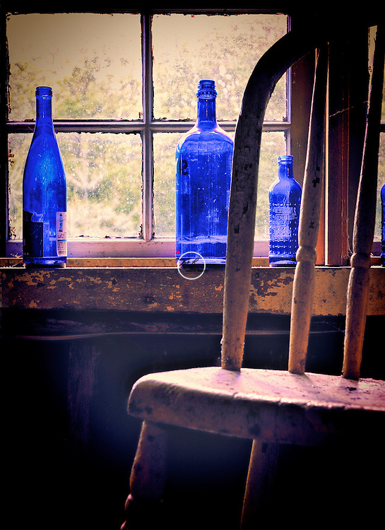 Blue Bottles in Window