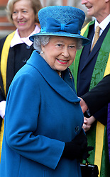 The Queen arrives at Royal Holloway University, Egham, UK, for a royal visit.<br /> Friday, 14th March 2014. Picture by Ben Stevens / i-Images