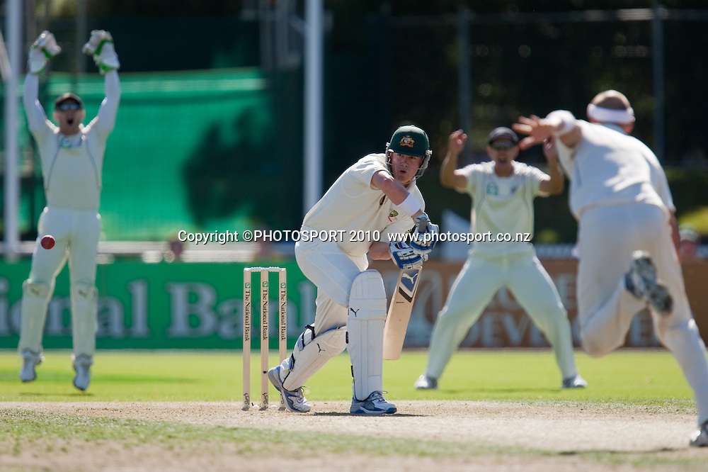 M North bats off the bowling of Chris Martin during day one of the 2nd cricket test match between NZ Black Caps and Australia, at Seddon Park, Hamilton, 27 March 2010. Photo: Stephen Barker/PHOTOSPORT